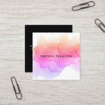"Modern Watercolor Blot | Social Media Square Business Card<br><div class=""desc"">Chic watercolor business cards in a unique square format feature your name or company name layered on a blooming inkblot illustration in colorful shades of pink, violet and golden coral. Add your full contact information to the back in white on black. Includes three social media icons and a template field...</div>"