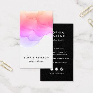 Modern Watercolor Blot | Vertical Social Media Business Card