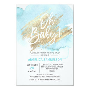 Modern Watercolor Blue Gold Oh Baby Shower 3.5x5 Invitation