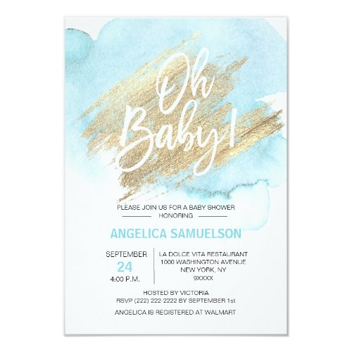 Modern Watercolor Blue Gold Oh Baby Shower 35x5 Invitation