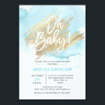 """Modern Watercolor Blue Gold Oh Baby Shower Invitation<br><div class=""""desc"""">Send these modern yet elegant (baby sprinkle) baby shower invitations to your guests. Light pastel blue watercolor on white background. Faux gold brush stroke with Oh baby ! Back of card has baby last name. Editable cards - personalize them by adding your text. Perfect for any baby boy shower party...</div>"""