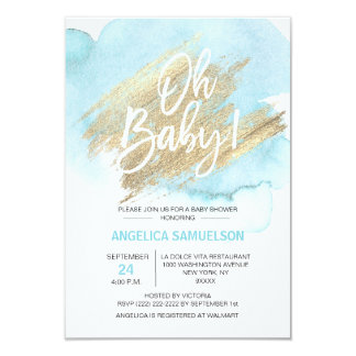 Modern Watercolor Blue Gold Oh Baby Shower Invitation