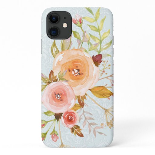 Modern Watercolor Blue n Pink Floral Rose Foliage iPhone 11 Case