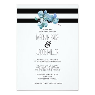 Modern Watercolor Blue Orchid Flower Wedding Card