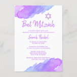 """Modern Watercolor Blue Star David Bat Mitzvah #LC Invitation<br><div class=""""desc"""">--- #LC collection --- Unique and modern watercolor religious Jewish 12 year old Bat Mitzvah invitations.   Lovely design with light violet,  purple,  blue colors with Star of David.  Template cards - easy to add your text.  Back of card has girl / daughter full name.</div>"""
