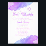 "Modern Watercolor Blue Star David Bat Mitzvah #LC Invitation<br><div class=""desc"">--- #LC collection --- Unique and modern watercolor religious Jewish 12 year old Bat Mitzvah invitations.   Lovely design with light violet,  purple,  blue colors with Star of David.  Template cards - easy to add your text.  Back of card has girl / daughter full name.</div>"