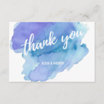 Modern Watercolor Blue Teal Turquoise THANK YOU