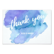 Modern Watercolor Blue Teal Turquoise THANK YOU Card