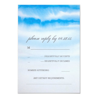 modern watercolor blue wedding RSVP cards