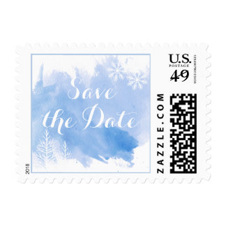 Modern watercolor blue wedding Save the Date Postage