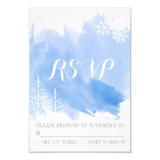 Modern watercolor blue winter wedding RSVP reply 3.5x5 Paper Invitation Card