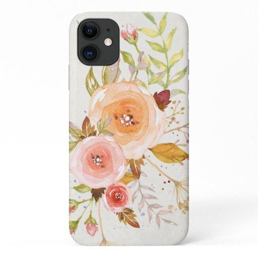 Modern Watercolor Blush Pink Floral Rose Foliage iPhone 11 Case