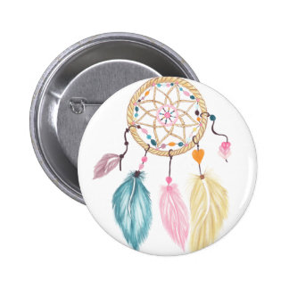 Modern watercolor boho dreamcatcher feathers button