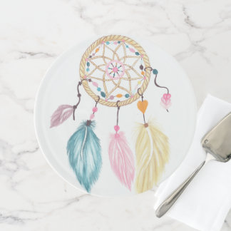 Modern watercolor boho dreamcatcher feathers cake stand