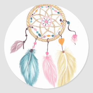 Modern watercolor boho dreamcatcher feathers classic round sticker