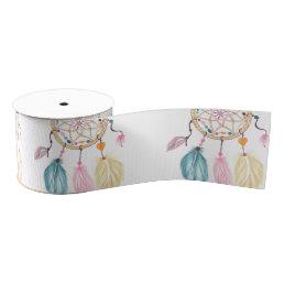 Modern watercolor boho dreamcatcher feathers grosgrain ribbon