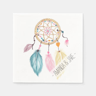 Modern watercolor boho dreamcatcher feathers napkin