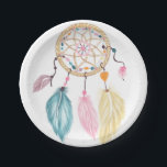 "Modern watercolor boho dreamcatcher feathers paper plate<br><div class=""desc"">A modern,  boho,  hand painted watercolor dreamcatcher with beads and feathers in pastel pink,  turquoise,  orange watercolours,  the background color is fully customizable</div>"