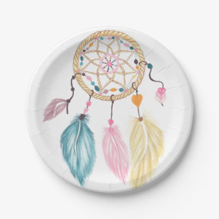 Modern Watercolor Boho Dreamcatcher Feathers Paper Plate at Zazzle