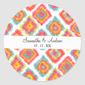 Modern watercolor boho summer tie dye Ikat pattern Classic Round Sticker