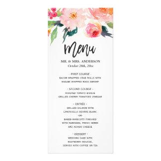 Modern Watercolor Botanical Floral Wedding Menu