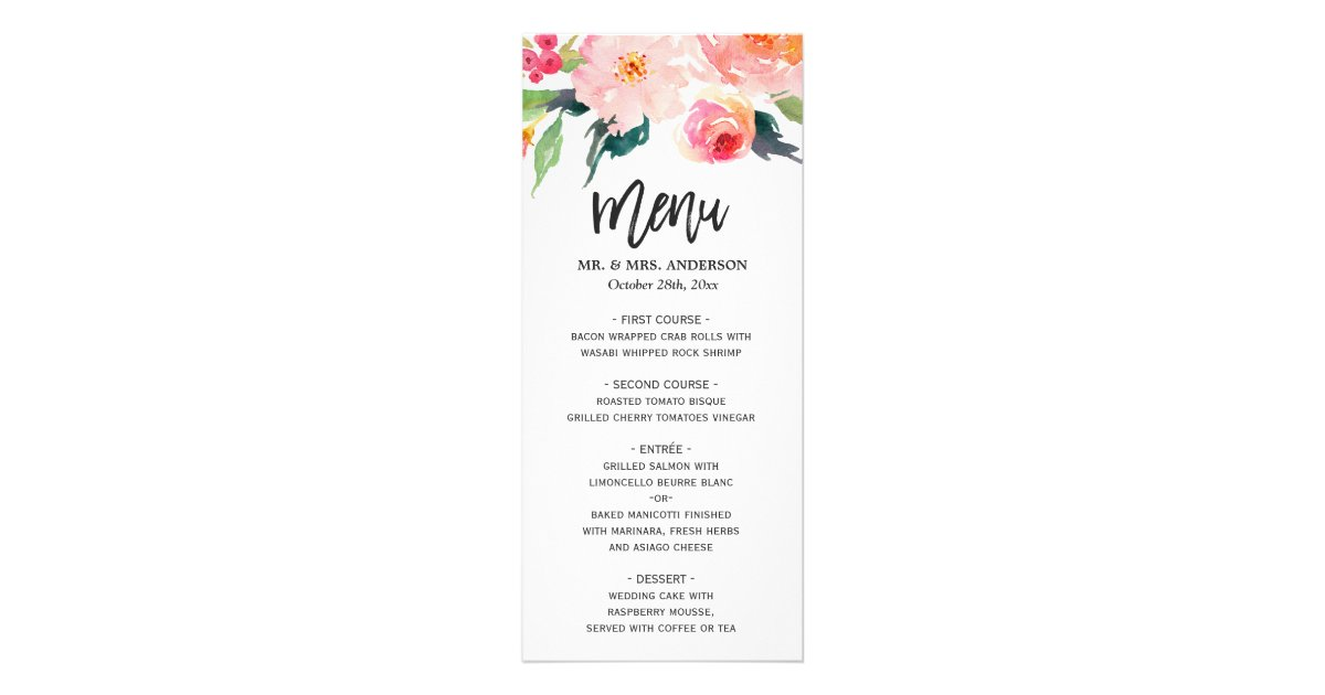 Wedding Menu Rack Cards | Zazzle