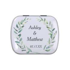 Modern Watercolor Branches Wedding Favor Candy Tin at Zazzle