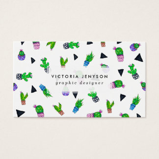 Modern watercolor cactus pattern illustration business card