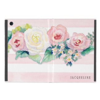 MODERN Watercolor Chic Wide Stripes w Roses Cover For iPad Mini