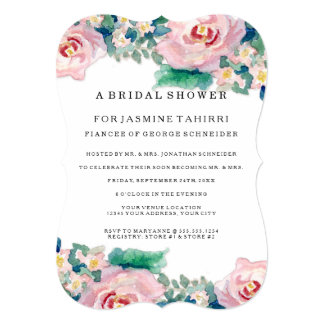 """MODERN Watercolor Chic Wide Stripes w Roses 5"""" X 7"""" Invitation Card"""