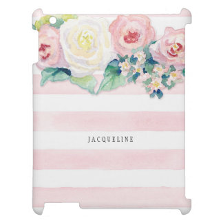 MODERN Watercolor Chic Wide Stripes w Roses iPad Case