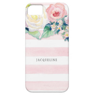 MODERN Watercolor Chic Wide Stripes w Roses iPhone SE/5/5s Case