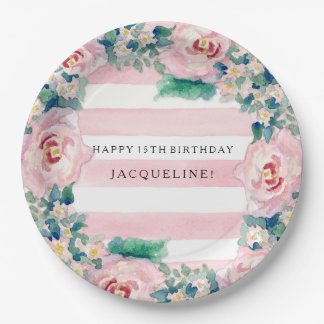 MODERN Watercolor Chic Wide Stripes w Roses 9 Inch Paper Plate