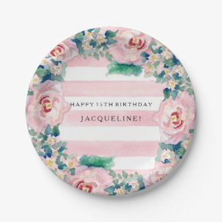 MODERN Watercolor Chic Wide Stripes w Roses 7 Inch Paper Plate