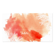 Modern watercolor coral reef wedding place card business card templates