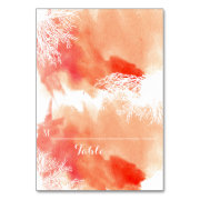 Modern watercolor coral reef wedding place card table cards