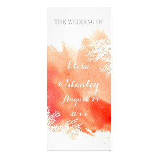 Modern watercolor coral reef wedding program customized rack card