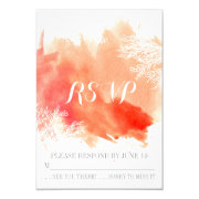 Modern watercolor coral reef wedding RSVP reply 3.5