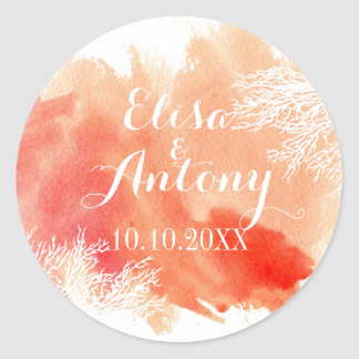 Modern watercolor coral reef wedding Save the Date Classic Round Sticker