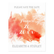Modern watercolor coral reef wedding Save the Date Postcard