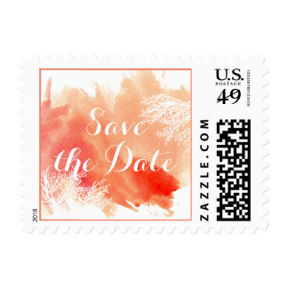 Modern watercolor coral reef wedding Save the Date Stamp