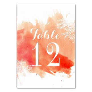 Modern watercolor coral reef wedding table number
