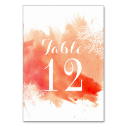 Modern watercolor coral reef wedding table number card