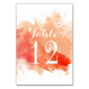 Modern watercolor coral reef wedding table number table card
