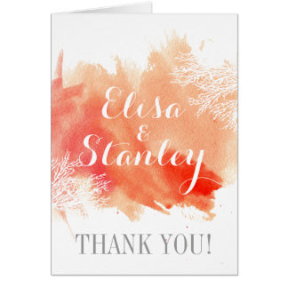 Modern watercolor coral reef wedding Thank You Stationery Note Card