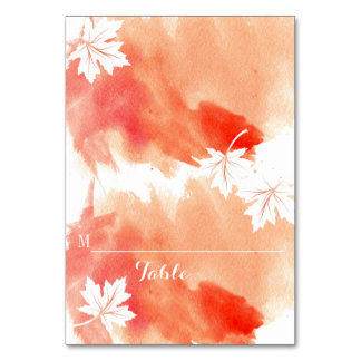 Modern watercolor coral wedding place card