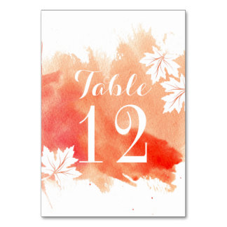 Modern watercolor coral wedding table number table card