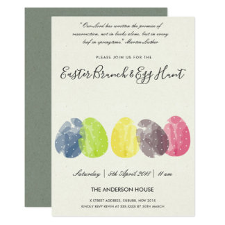 MODERN WATERCOLOR EASTER EGGS BRUNCH & EGG HUNT CARD