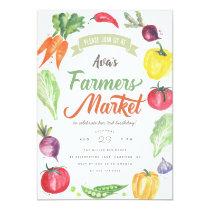 Modern Watercolor Farmers Market Birthday Party Invitation