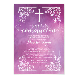 Modern Watercolor First Holy Communion Invitation